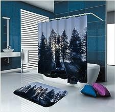 AMDXD Bathroom Set Curtain Mats Accessories Forest Gray Bathroom Shower Curtain 3D Bath Mats for Bathroom 180x180CM