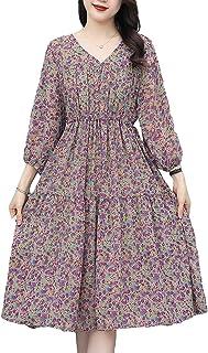Women Summer Floral Print Dress V Neck 3/4 Sleeve Casual Loose Plus Size Swing Dresses غير رسمي (Color : Purple, Size : 3XL)