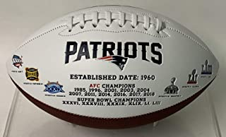 New England Patriots Embroidered Logo Signature Series Full Size Football - with Super Bowl 53 LIII logo and final score