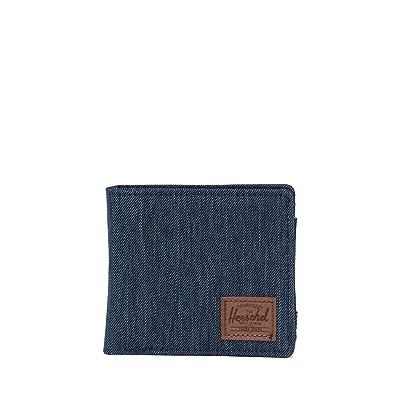 Herschel Supply Co. Hans Wallet Coin XL RFID (Indigo Denim Crosshatch/Saddle Brown) Wallet Handbags
