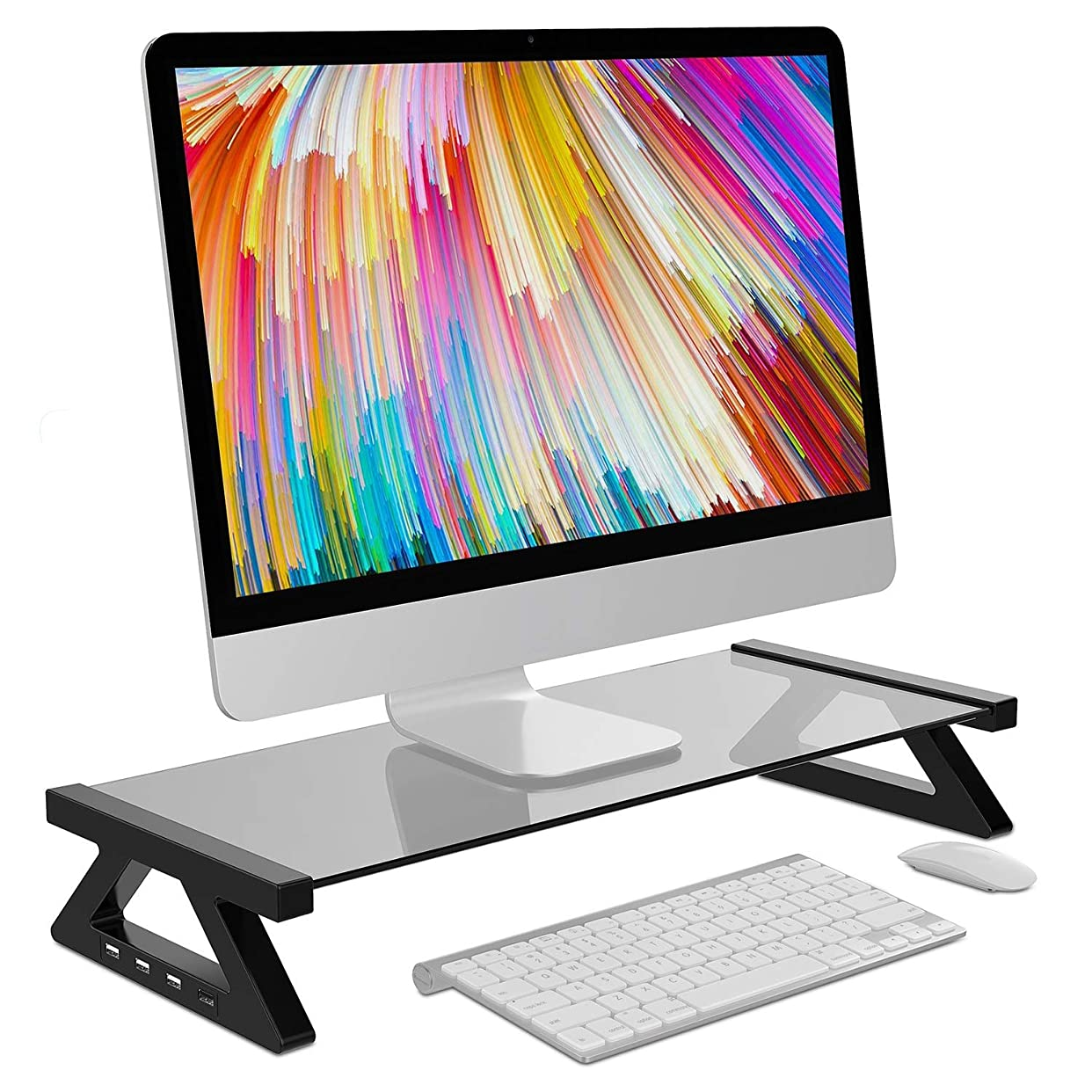 国結果としてキャンドルモニター台 デスクボード USBポート付き ガラス天板 キーボード収納 机上 卓上? (グレー)