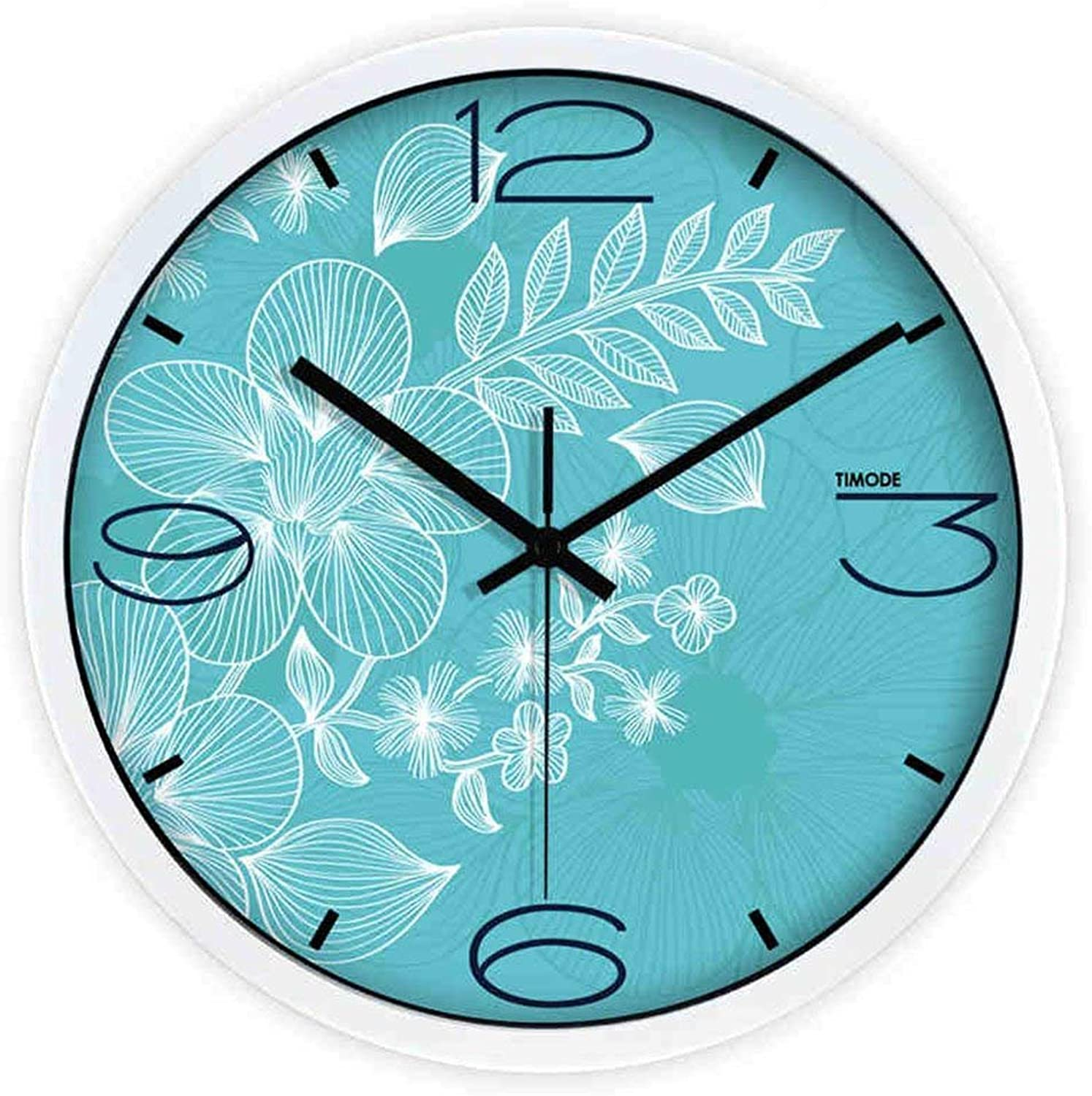 Wall Clocks Wall Clock Living Room Mute Pastoral Warmth Pattern Quartz Clock bluee Fresh Fashion Watches (color   White, Size   12inch)