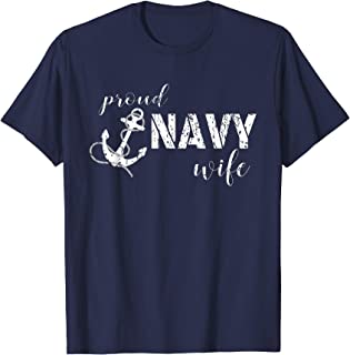 Proud Navy Wife Anchor T-shirt for Navy Spouses