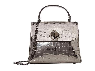 Kate Spade New York Romy Metallic Croc Embossed Mini Top-Handle (Gunmetal) Bags
