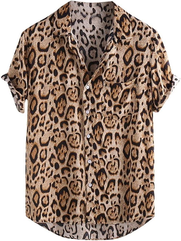 WSSBK Hawaiian Leopard Shirt Men Hip Sleeve OFFicial site Short Streetwear Los Angeles Mall Hop