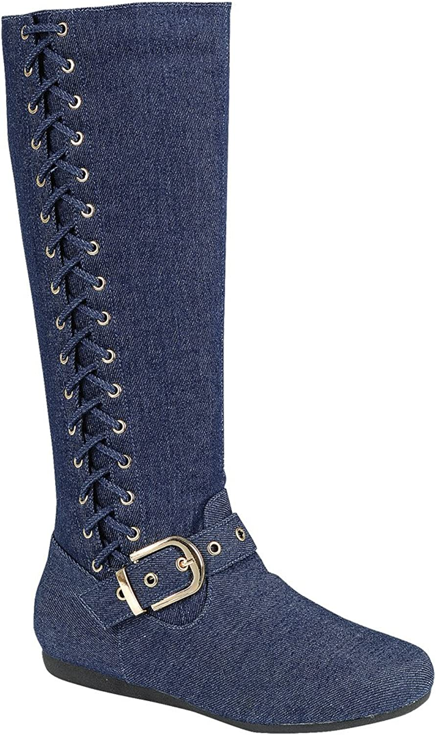 Forever Mid Calf Flat Moccasin Slouch Boots W Side Woven Corset Lace Up shoes