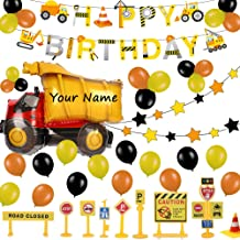 52 Pack Construction Birthday Party Supplies Kit - Construction Happy Birthday Banner, Giant Dump Truck Balloon, Star Garland, Road Sign Model for Cake Decoration | Aster Birthday Decor Set for 1st 2nd 3rd 4-12 year Boys