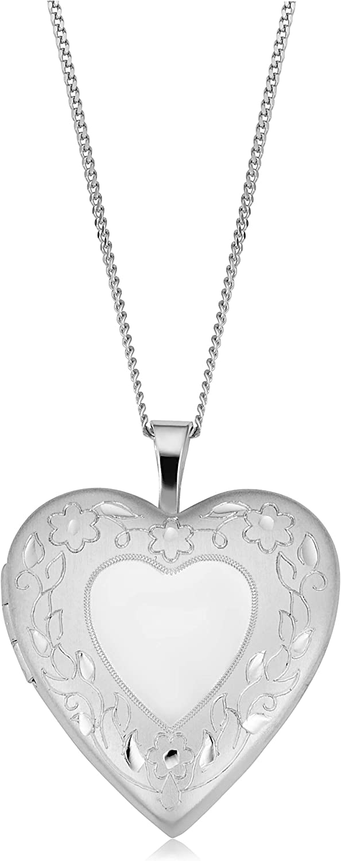 Kooljewelry Rhodium Plated Brass Max 85% OFF Heart Silv Ranking TOP2 Locket with Sterling