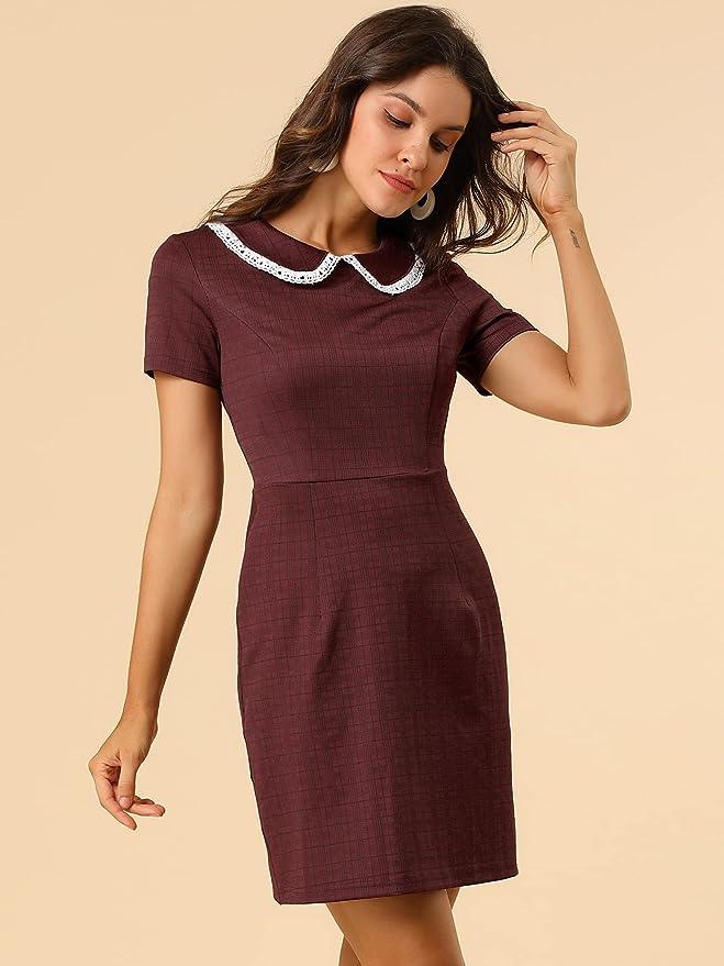 Vintage Style Dresses | Vintage Inspired Dresses Allegra K Womens Vintage Short Sleeve Contrast Collar Slim Fit Stretchy Houndstooth Mini Dress  AT vintagedancer.com