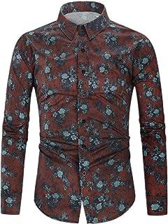 N\P Camisa de manga larga para hombre con estampado de flores digitales