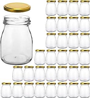 Glass Jars, KAMOTA 32 PACK 6 oz Clear Yogurt Jars With Gold Lids, Glass Pudding Jars Yogurt Jars Ideal for Jam, Honey, Wedding Favors, Shower Favors, Baby Foods (200ml)
