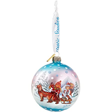 Amazon Com G Debrekht Winter Kids Glass Ball Ornament 3 5 Home Kitchen