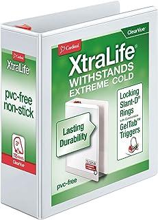 "Cardinal XtraLife 3-Ring Binder, 3"", Locking Slant-D Rings, ClearVue Presentation Binder, Holds 725 Sheets, PVC-Free, Whit..."