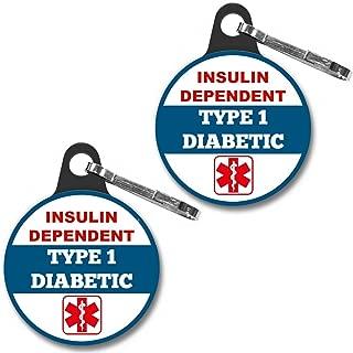 "Insulin Dependent Type 1 DIABETIC Medical Alert Tag 2pcs Zipper Pull Charm 1.25"" For Bag, Backpack"