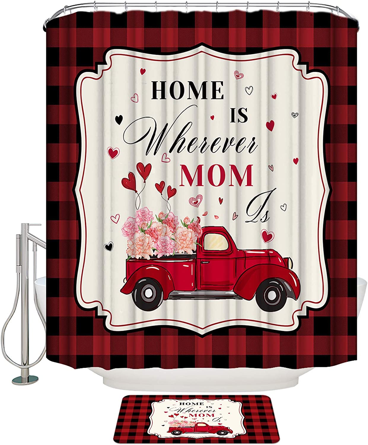 LooPoP Quote Mother Shower Curtain specialty shop Bath Rugs Thick Baltimore Mall Bathroom Set