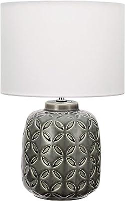 Pauleen 48155 Glowing Bloom Lampe Luminaire à Poser avec Abat-Jour en Tissu Moderne Max 40W E14 Gris/Blanc 230V Céramique