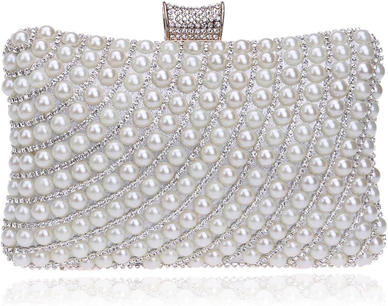 WEATLY damen Perle Perlen Abend Abend Abend Clutch Handtaschen Hochzeit Geldbörse (Farbe   Silber) B07MXV553G  Leitende Mode 9b1f13