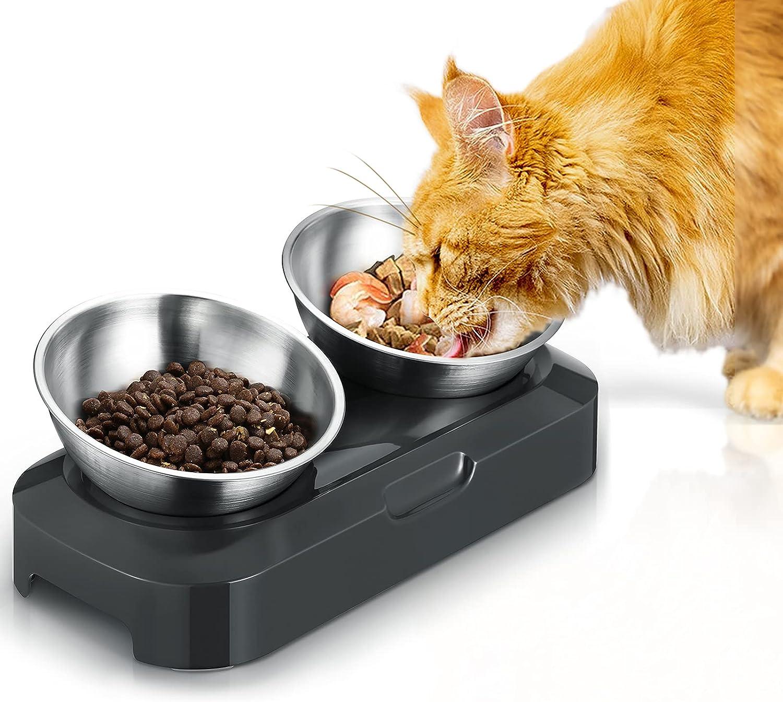 PewinGo Cuenco Gato Acero Inoxidable, Comederos para Gatos Antideslizante Cuello inclinable Tazón Protector del Alimento para Mascotas, Gatos y Cachorros -Gris y Plata
