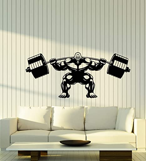 Amazon Com Vinyl Wall Decal Gorilla Home Gym Barbell Muscles Logo Stickers Large Decor 3091ig Black Kitchen Dining