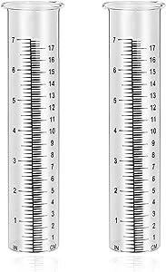 Rakumi Rain Gauge Outdoor 7 Inch Capacity, Glass Rain Gauge Replacement Tubes for Yard Garden Yard Outdoor,2 Packs