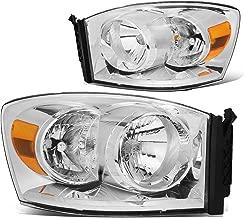 Pair Chrome Housing Amber Side Front Bumper Driving Headlight Lamps for 06-09 Dodge Ram Truck