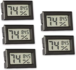 5 Pack Mini Thermometer Hygrometer, Small Digital Electronic Temperature Humidity Meters Gauge Indoor Outdoor LCD Display ...