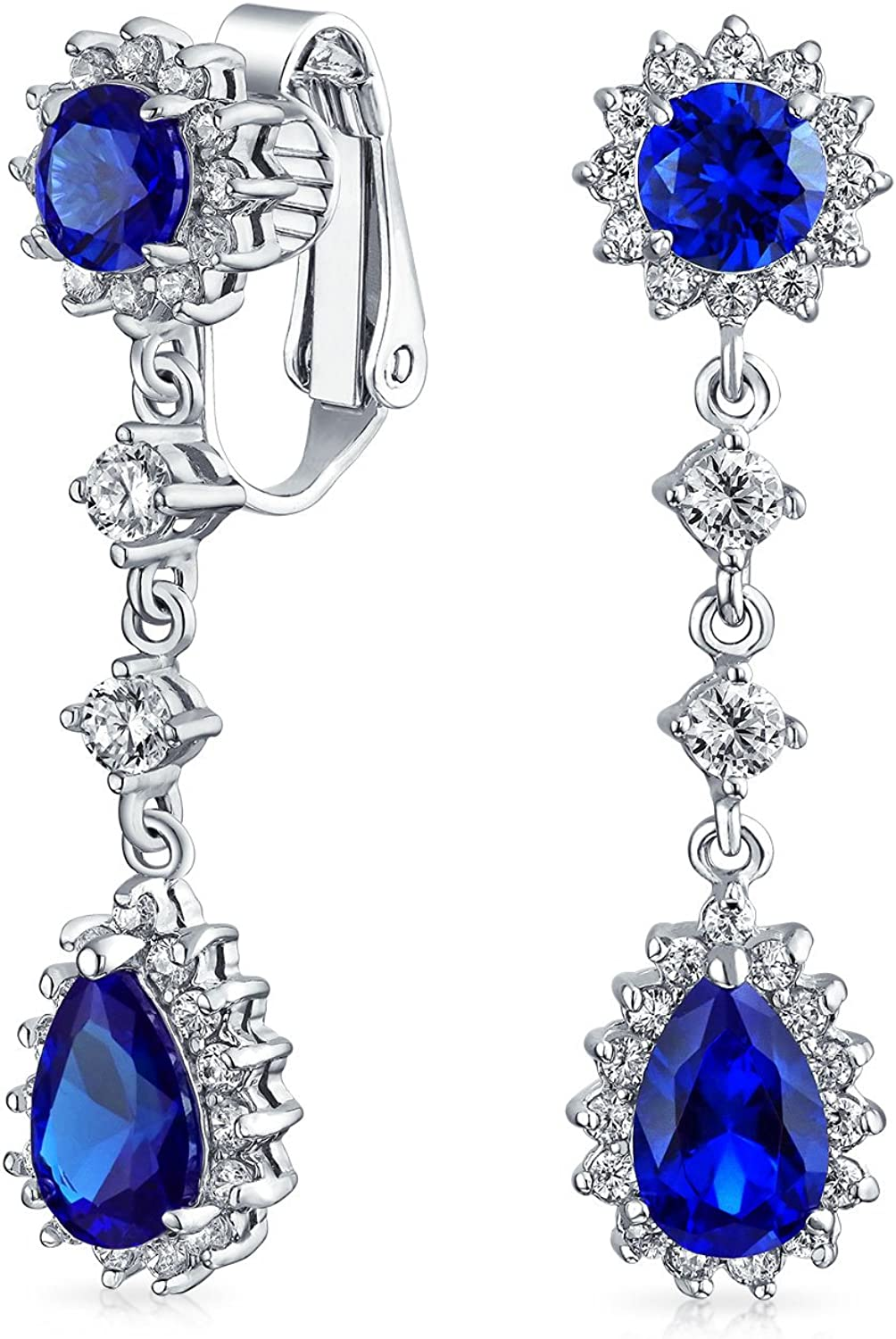 Bridal Statement Teardrop Pave Crown Halo Cubic Zirconia AAA CZ Dangle Chandelier Clip On Earrings For Women More Colors