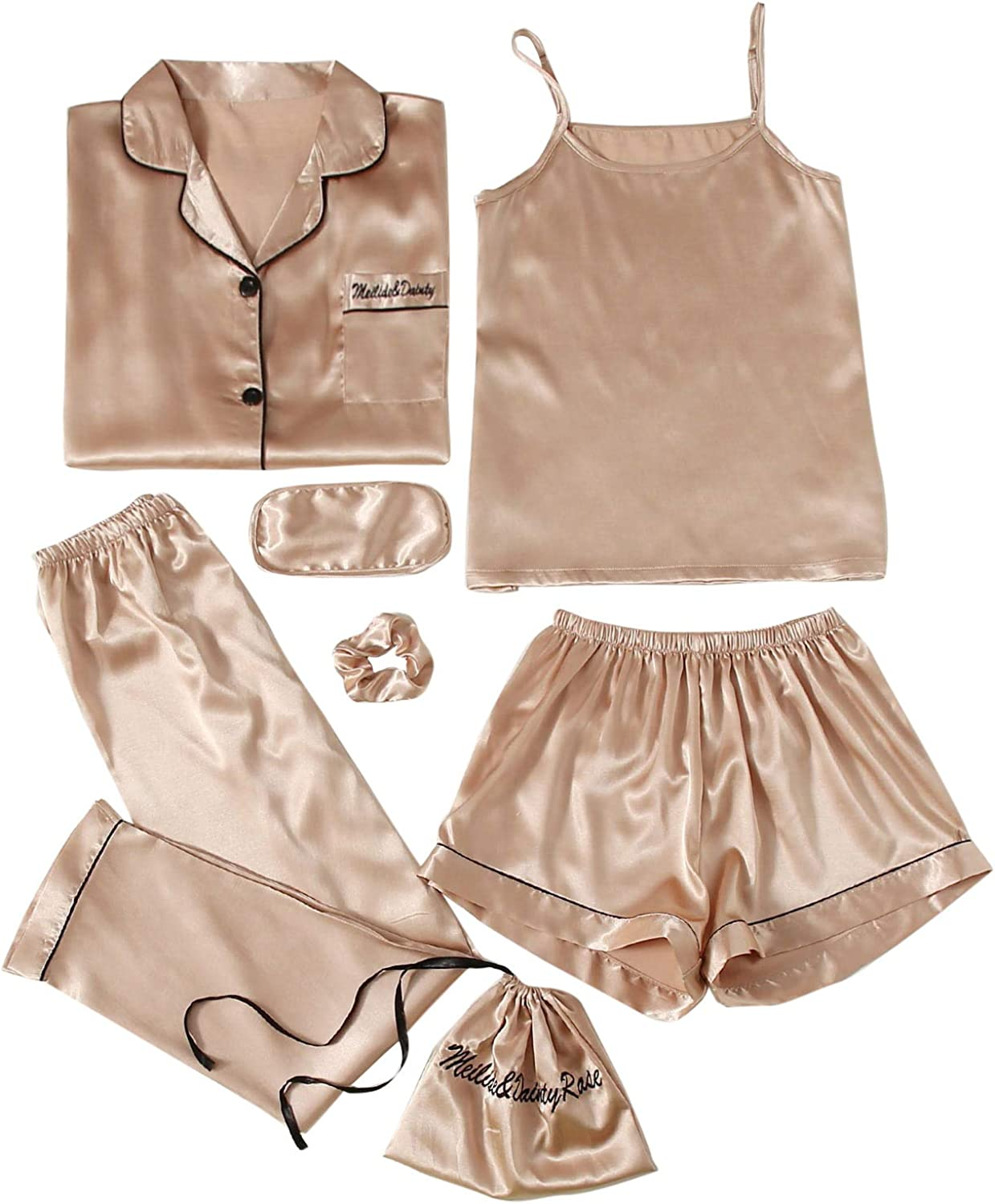 SOLY HUX Popular shop is the lowest price challenge Women's 7pcs Pajama Challenge the lowest price of Japan ☆ Set Satin Top Cami Shirt with and E