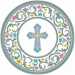 amscan Silver Blessed Day Round Paper Plates, 18 Ct. | Party Tableware, Multicolor, 10 1/2