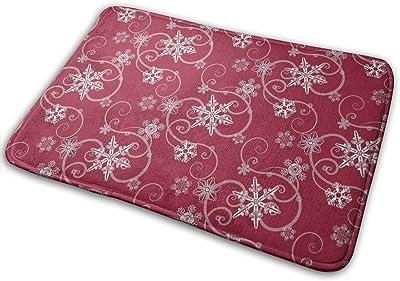 Snowflakes Dark Red Carpet Non-Slip Welcome Front Doormat Entryway Carpet Washable Outdoor Indoor Mat Room Rug 15.7 X 23.6 inch