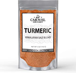 Keto Collection - Turmeric Himalayan Pink Salt Blend - The Classic Staple of Indian Cooking - 5 Ounce Pouch - by Caravel Gourmet