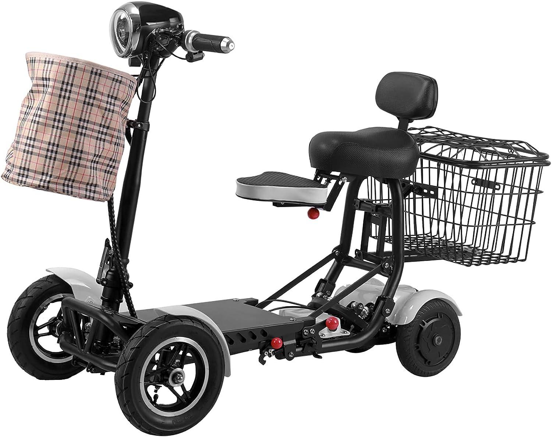 Scooter Eléctrico Plegables De 4 Ruedas, Sillas De Ruedas Móviles Ligeras Y Motorizadas Portátil Plegable Compacto Con Asiento Para Adultos Discapacitados Viajes Al Aire Libre (Blanco,36V15.6AH/40KM)