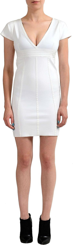 Just Cavalli White Deep VNeck Cap Sleeves Women's Stretch Dress US S IT 40