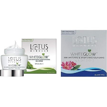 Lotus Herbals Whiteglow Skin Whitening And Brightening Gel Cream, SPF-25, 40g And Lotus Herbals White Glow Skin Whitening And Brightening Nourishing Night Creme, 60g