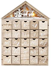 PIONEER-EFFORT Christmas Wooden Advent Calendar House with 24 Drawers and Led Lights Countdown to Christmas Decoration Fil...