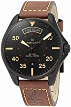 Hamilton Khaki Pilot Black Dial Leather Strap Men's Watch H64605531