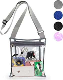 Clear Crossbody Purse Bag, Stadium Approved Bag with Extra Inside Pocket and Adjustable Shoulder Strap for Work, School, Concert, Sports Games