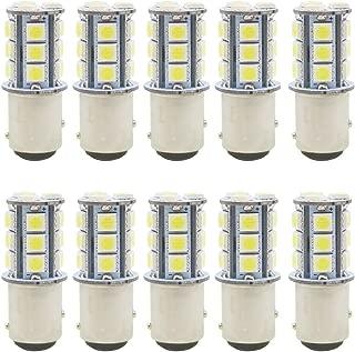 JAVR - Pack of 10-6500K White 1157 2057 2357 7528 BAY15D LED Bulbs 5050 18-SMD Replacement Lamps for 12V Interior RV Camper Trailer Lighting Back Up Reverse Lights or Tail Brake Lights