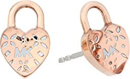 Michael Kors Love Logo Heart Lock Stud Earrings