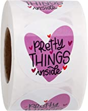 WRAPAHOLIC Pretty Things Inside Stickers - Heart Thanks for Shopping Small Shop Local Handmade - 2 x 2 Inch 500 Total Labels