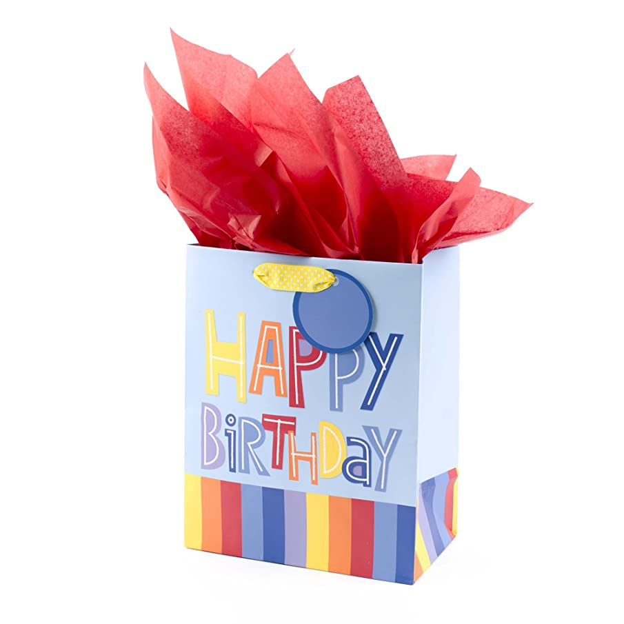 Hallmark Medium Gift Bag with Tissue Paper (Happy Birthday, Rainbow Stripes)
