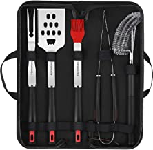 Homemaxs Grill Tools, BBQ Tools Set 5pcs with Case for Men, Stainless Steel Heavy Duty Barbecue Grilling Accessories Utensils Kit with Tong, Grill Cleaning Brush, Spatula, Fork, Basting Brush