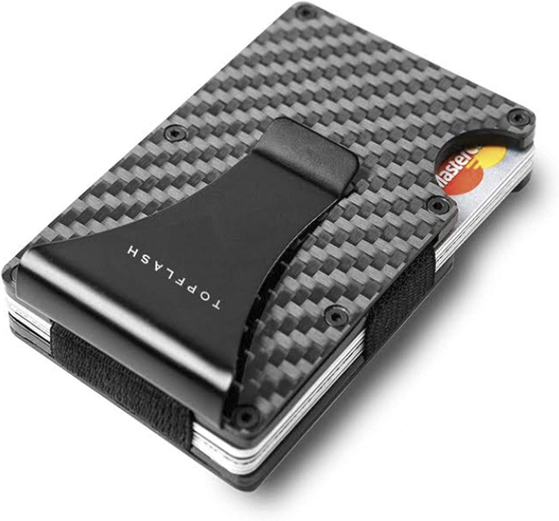 Minimalist Carbon Fiber Slim Wallet   RFID Blocking Front Pocket Wallet   Carbon Fiber Money Clip   Credit Card Holder for Men and Women   Mens Gift (black)