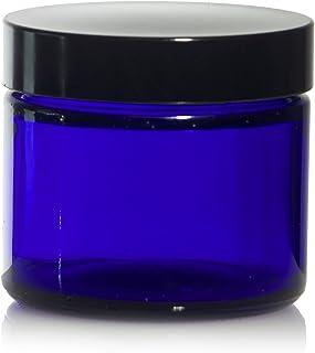 2 Oz (60 ml) Blue Glass Jars w/Black Smooth Foam Lined Caps (24)