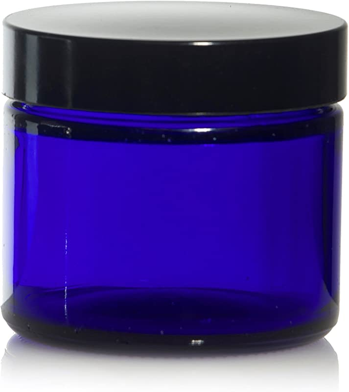 2 Oz 60 Ml Blue Glass Jars W Black Smooth Foam Lined Caps 24