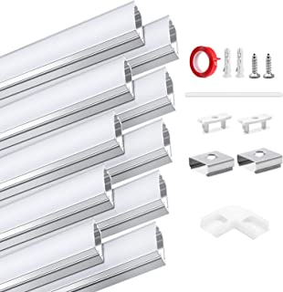 HOMMAND 10 Stuks x 1m / 3.3ft LED Aluminium Kanaal, LED Strip Kanaal en Diffuser, LED Strip Profiel met Hoekverbinder, Ein...