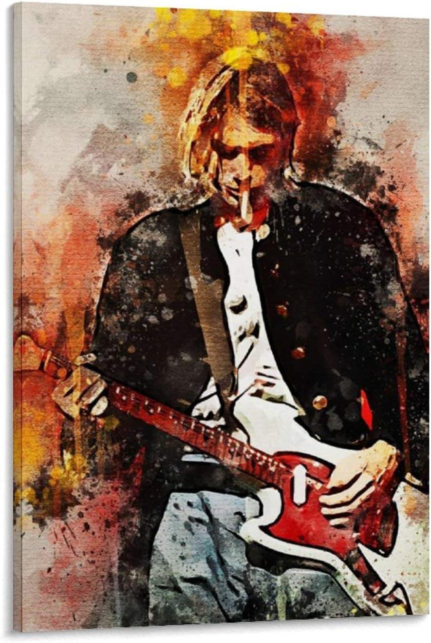 haocaitou Kurt Cobain - Póster decorativo para pared, diseño de guitarra, 40 x 60 cm