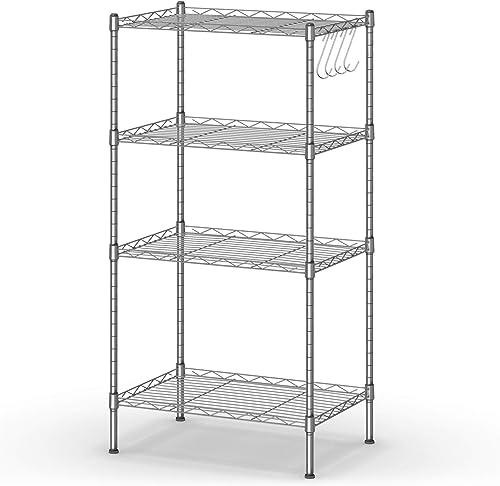 "high quality Giantex 4-Shelf Storage Shelving Unit, Heavy Duty Wire 2021 Racks, Adjustable Storage Shelves, Utility Rack with 4 high quality Hooks, Steel Organizer, 18""x12""x35.5"" (Silver) sale"