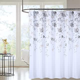 Haperlare Leaf Shower Curtain, Heavy Duty Fabric Shower Curtains with Watercolor Floral Design Hotel Quality Canvas Water Resistant Bathroom Shower Curtains, 72 x 72, Grey