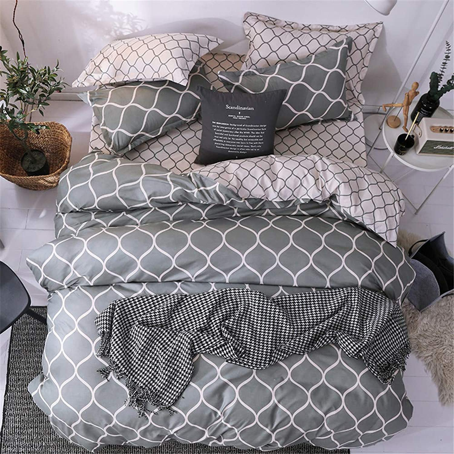 Luofanfei Geometric Duvet Bedding Cover Set Twin Duvet Sets for Boys Girls Twin Size Comforter Cover 3 PC Teens Quilt Duvet Cover Twin with 2 PC Pillow Shams Collection